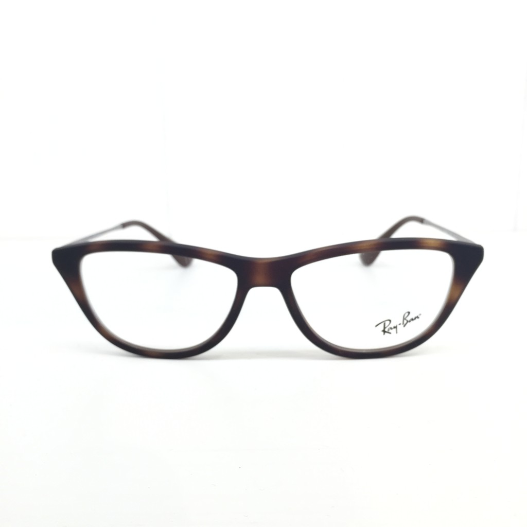 This Cat Eye Ray-Ban sports a classis brown tortoise front with thin, metal temples giving it a retro-meets-modern look