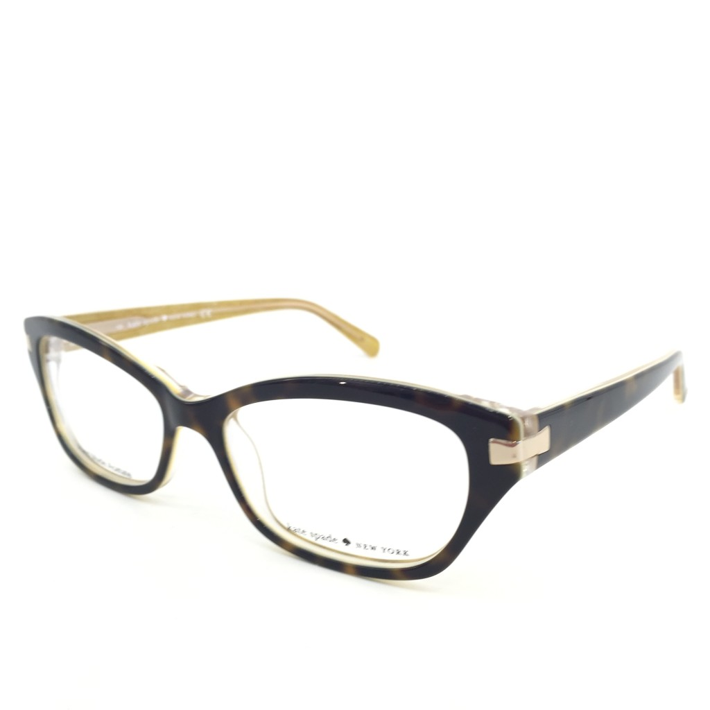 These Kate Spade frames mix a dark totoise front with a clear back and yellow accented temples. Top it off with hints of gold hardware and we are in love!