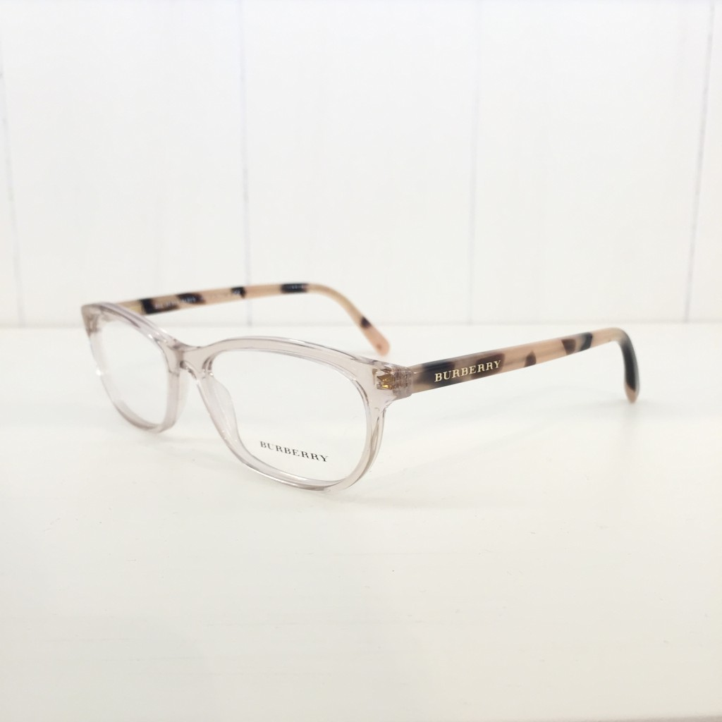 These Burberry's are probably our favorite frame that we have right now! A translucent frame front with a blonde tortoise temple makes this frame so classy!